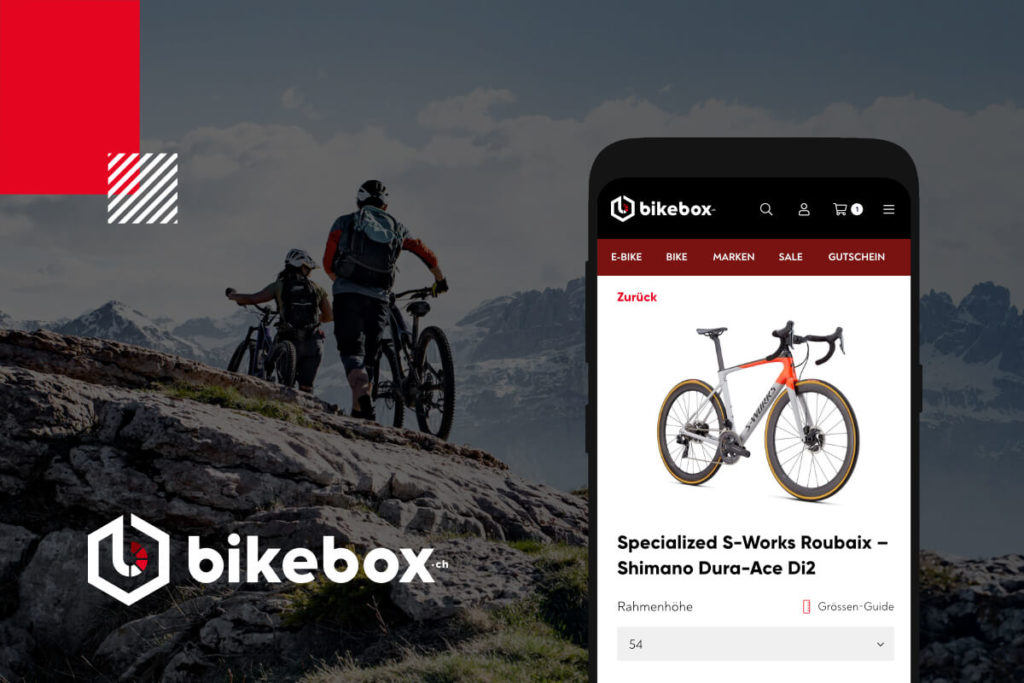 bixebox case study cover representing bikebox branding and the webshop on mobile screen