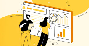 blog cover graphic showing man and woman analyzing data with google analytics