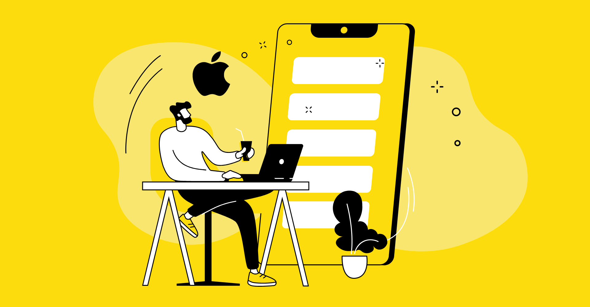blog cover graphic showing man sitting with laptop and Apple logo in the background